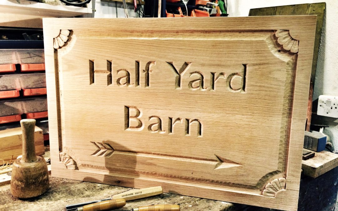 Carved oak sign 2